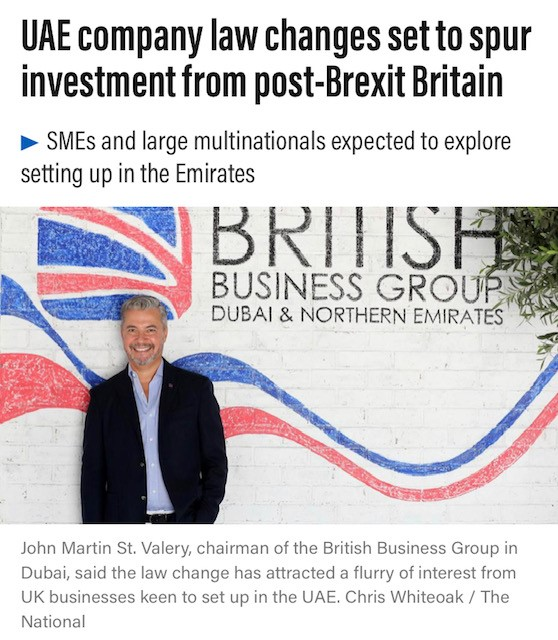 BBG TALKS TO THE NATIONAL: UAE COMPANY LAW CHANGES SET TO SPUR INVESTMENT FROM POST-BREXIT BRITAIN